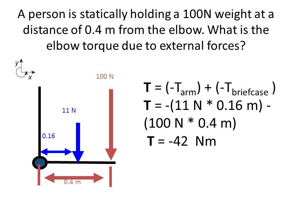 T = (-Tarm) + (-Tbriefcase ) T = -(11 N * 0.16 m) - (100 N * 0.4 m)