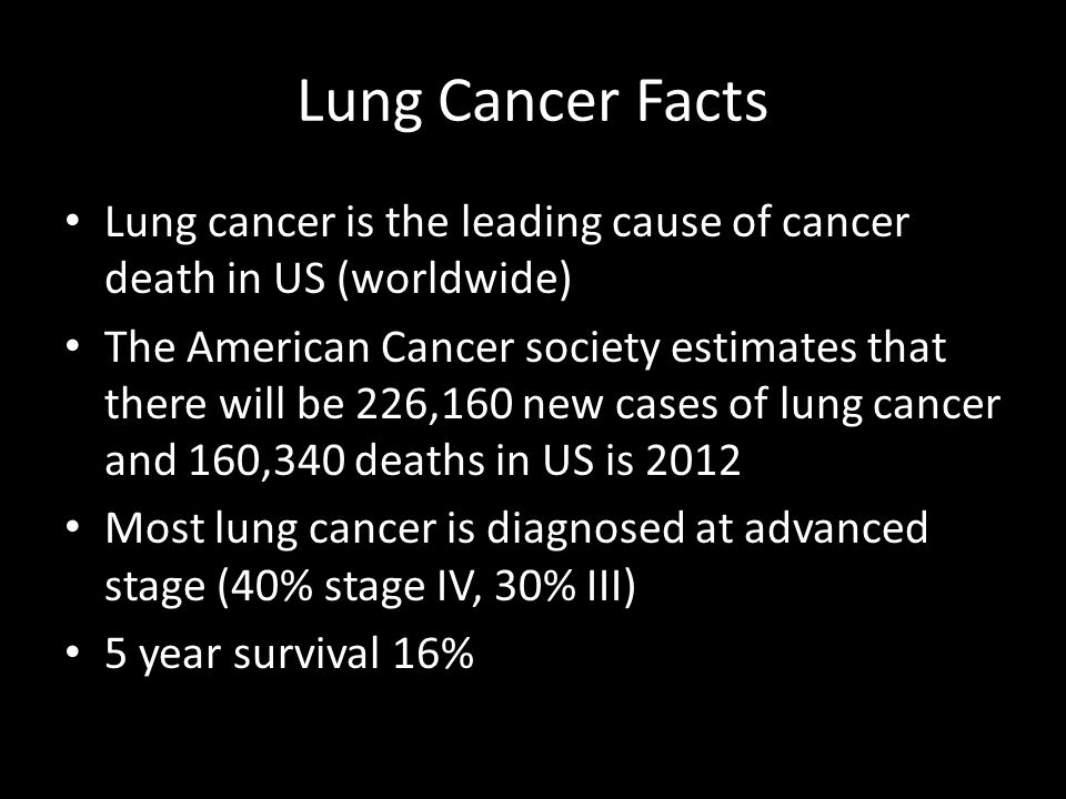 Lung Cancer Facts Lung cancer is the leading cause of cancer death in US (worldwide)
