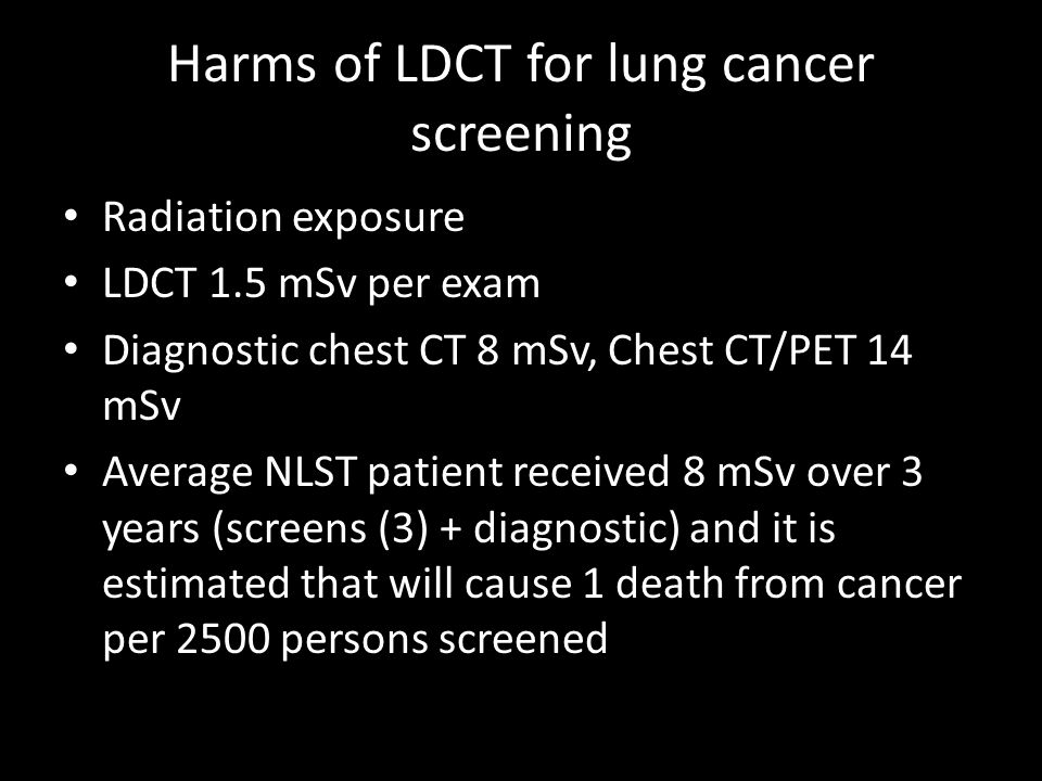Harms of LDCT for lung cancer screening