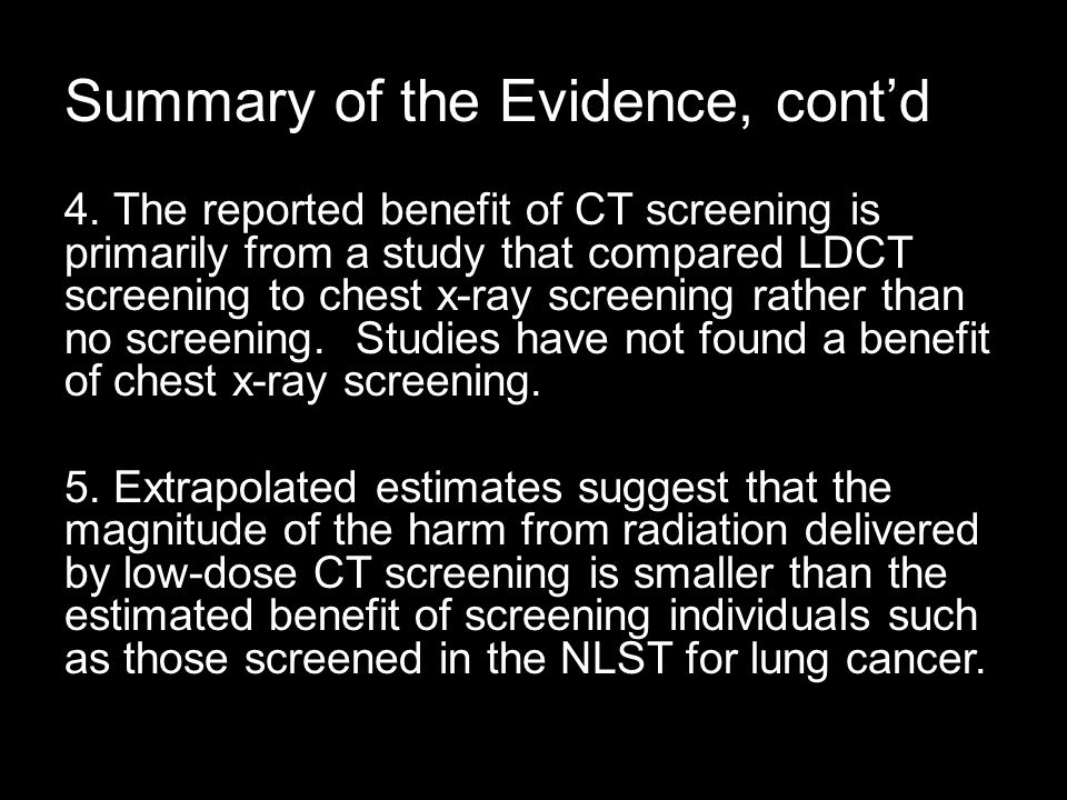 Summary of the Evidence, cont'd