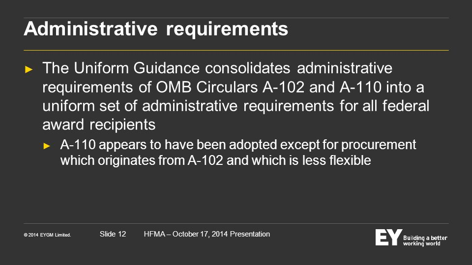 Administrative requirements