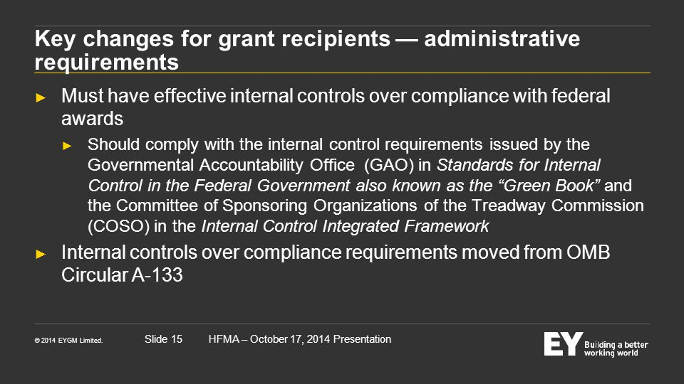 Key changes for grant recipients — administrative requirements