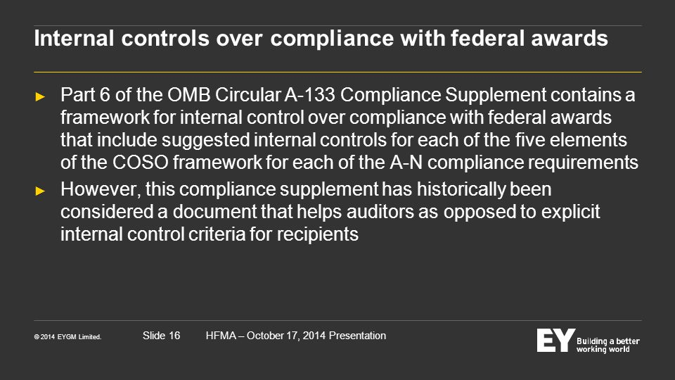 Internal controls over compliance with federal awards