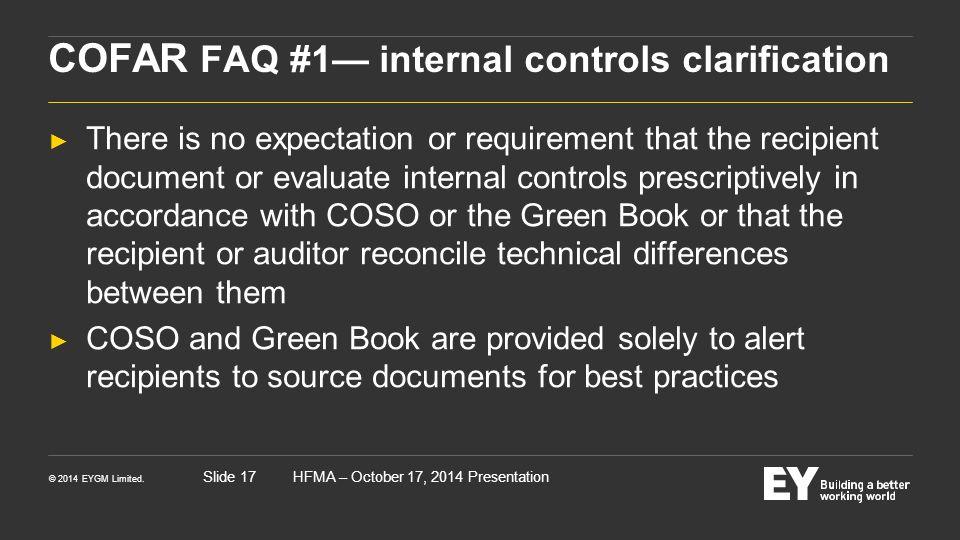 COFAR FAQ #1— internal controls clarification