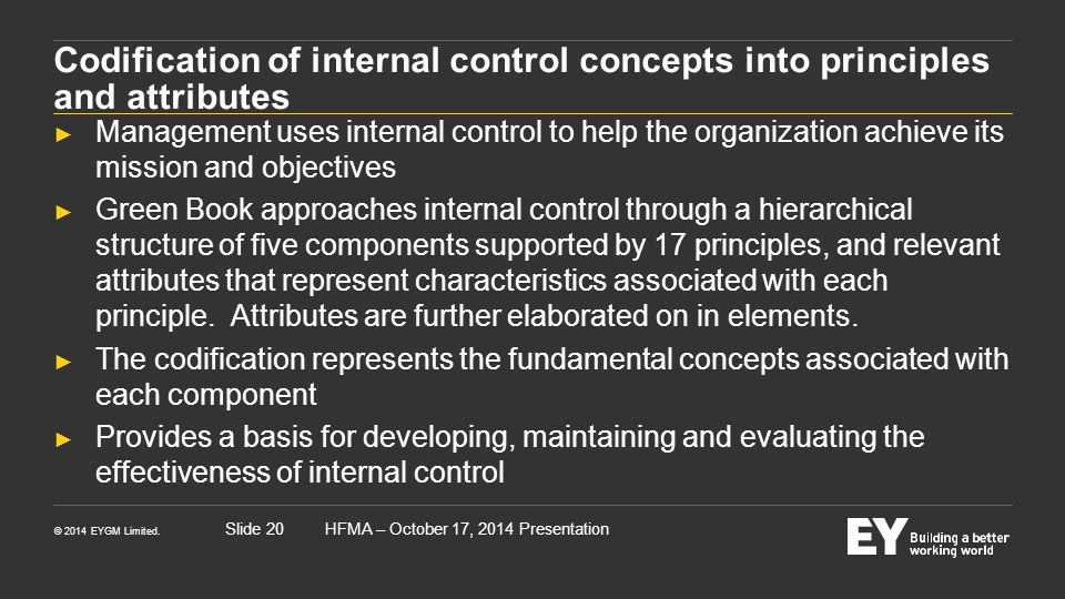 Codification of internal control concepts into principles and attributes