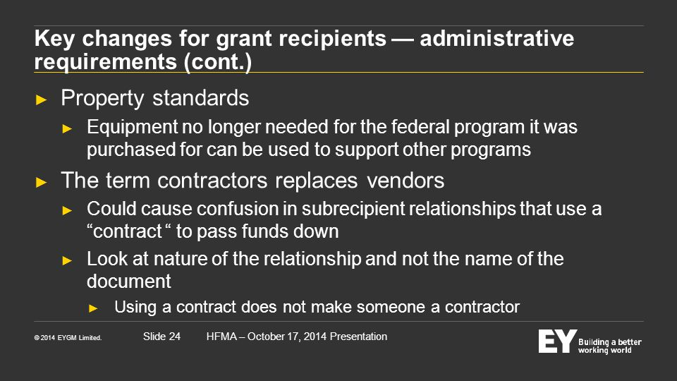 Key changes for grant recipients — administrative requirements (cont.)