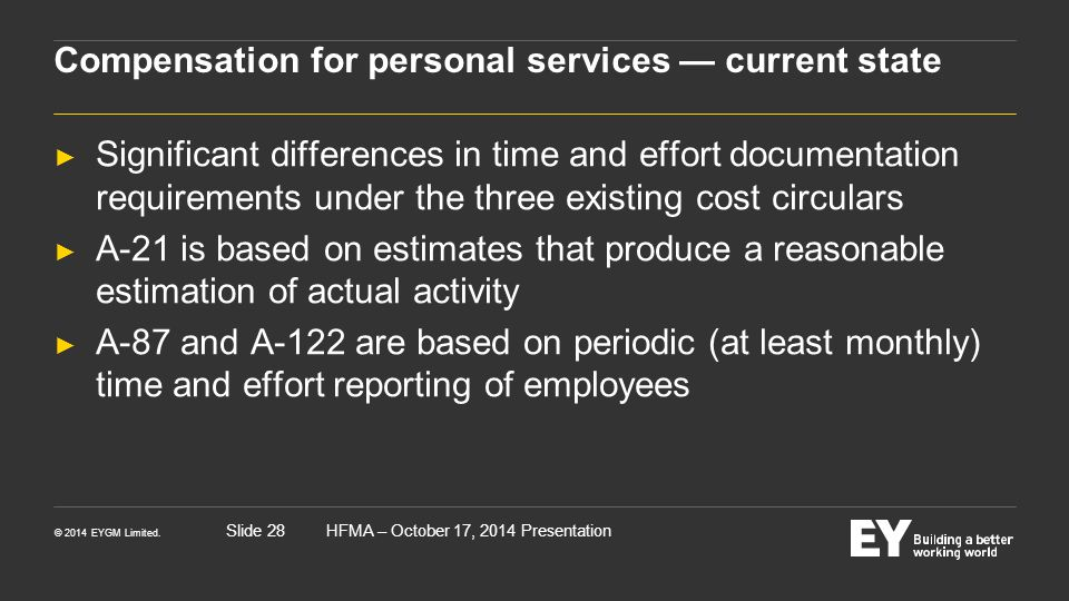 Compensation for personal services — current state