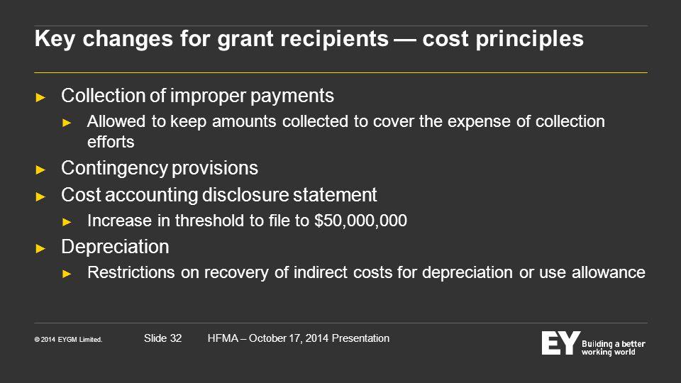 Key changes for grant recipients — cost principles