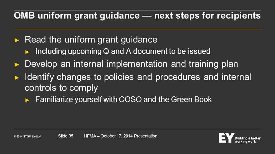 OMB uniform grant guidance — next steps for recipients
