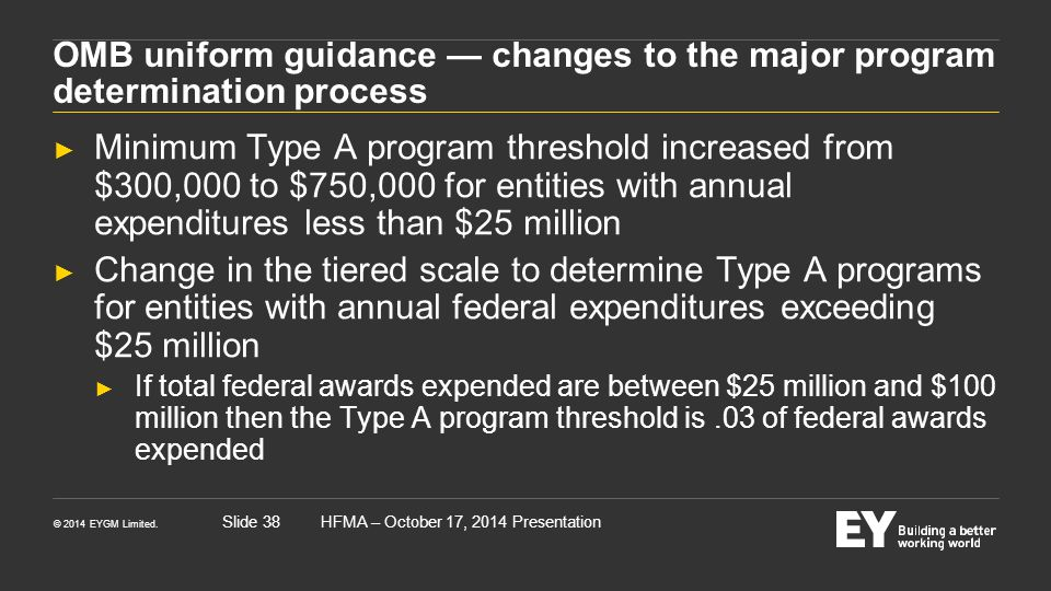OMB uniform guidance — changes to the major program determination process