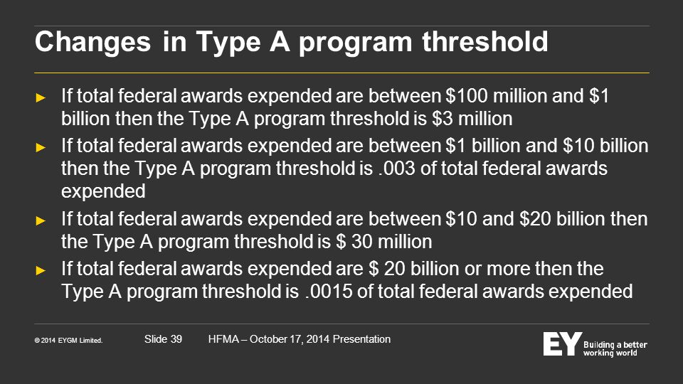 Changes in Type A program threshold