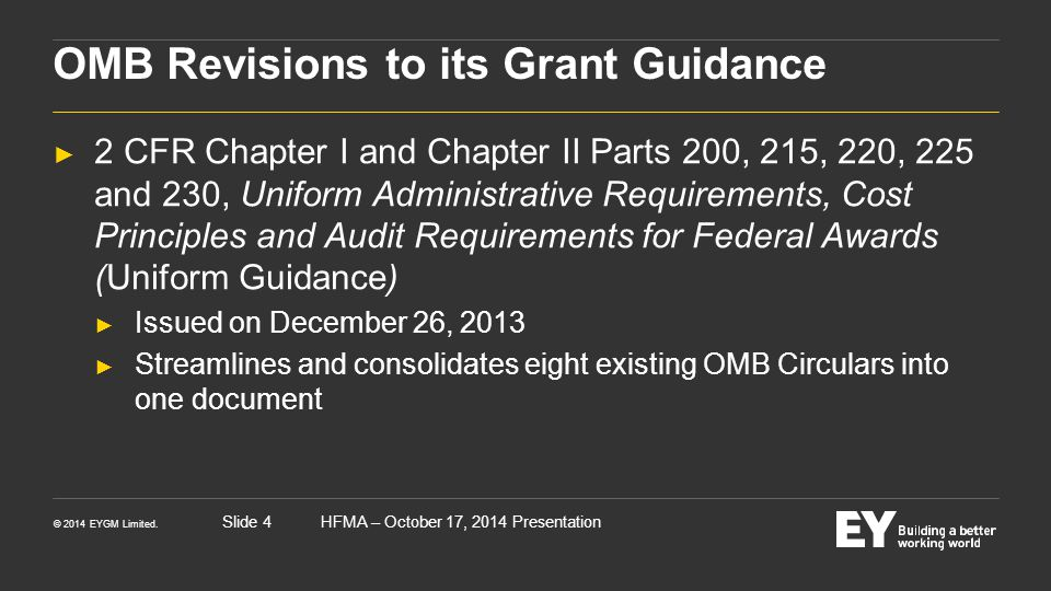 OMB Revisions to its Grant Guidance