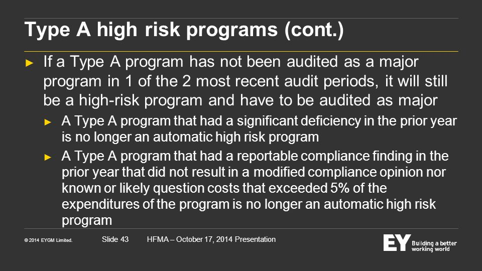 Type A high risk programs (cont.)