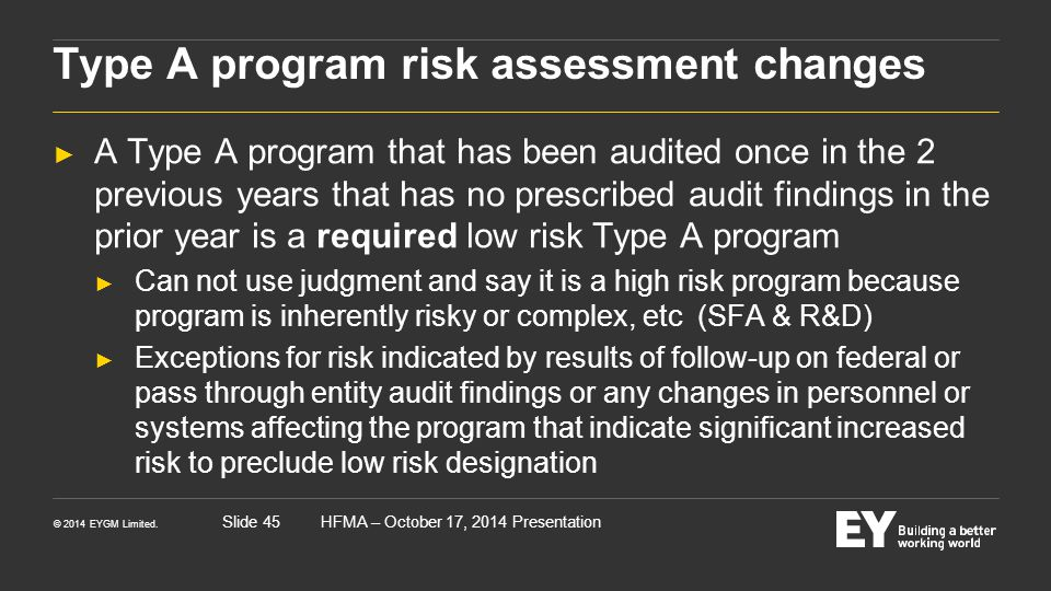 Type A program risk assessment changes