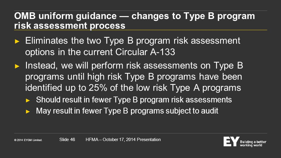 OMB uniform guidance — changes to Type B program risk assessment process