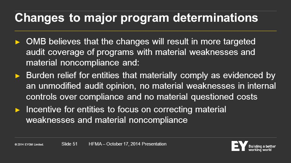 Changes to major program determinations