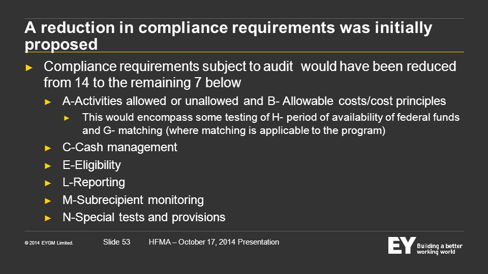 A reduction in compliance requirements was initially proposed