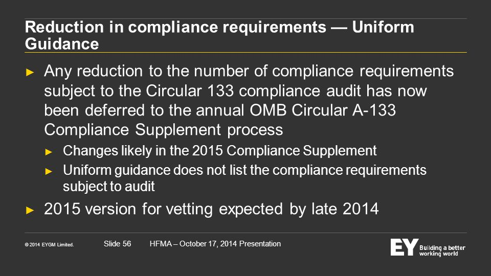 Reduction in compliance requirements — Uniform Guidance