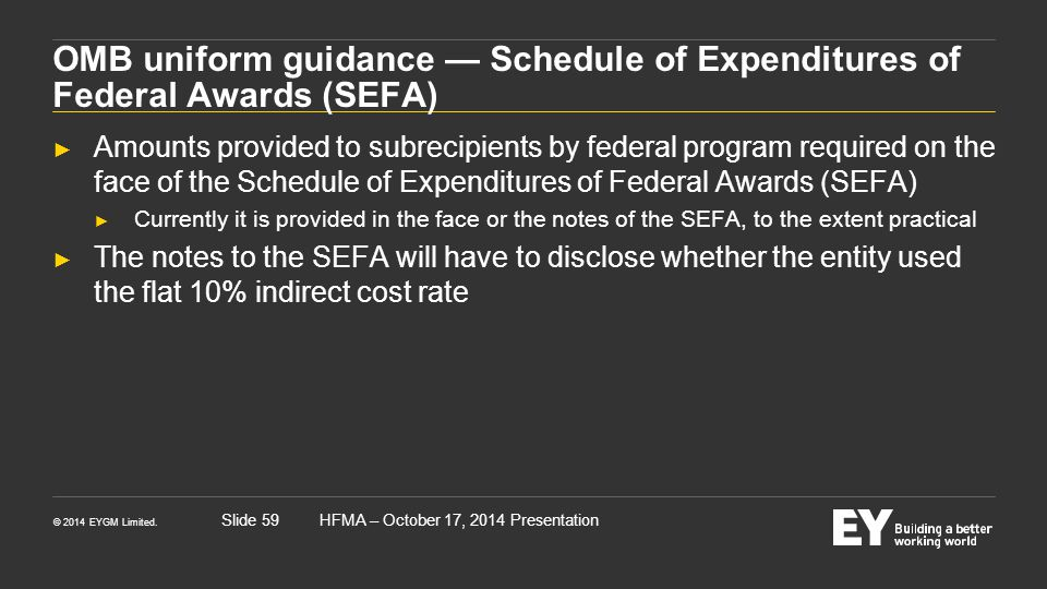 OMB uniform guidance — Schedule of Expenditures of Federal Awards (SEFA)