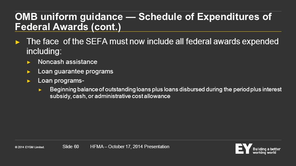 OMB uniform guidance — Schedule of Expenditures of Federal Awards (cont.)