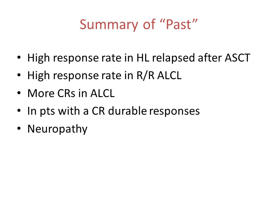 Summary of Past High response rate in HL relapsed after ASCT