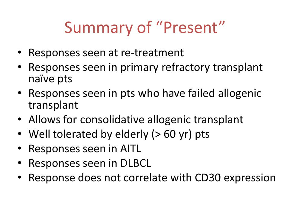 Summary of Present Responses seen at re-treatment