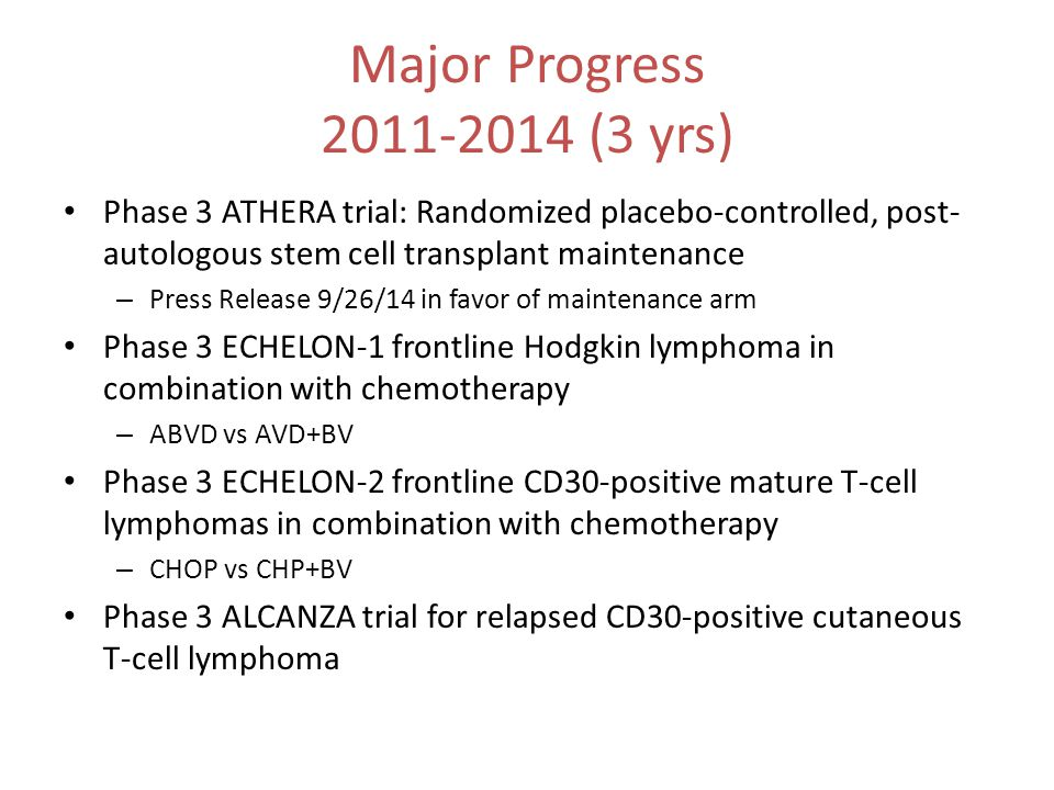 Major Progress 2011-2014 (3 yrs) Phase 3 ATHERA trial: Randomized placebo-controlled, post-autologous stem cell transplant maintenance.