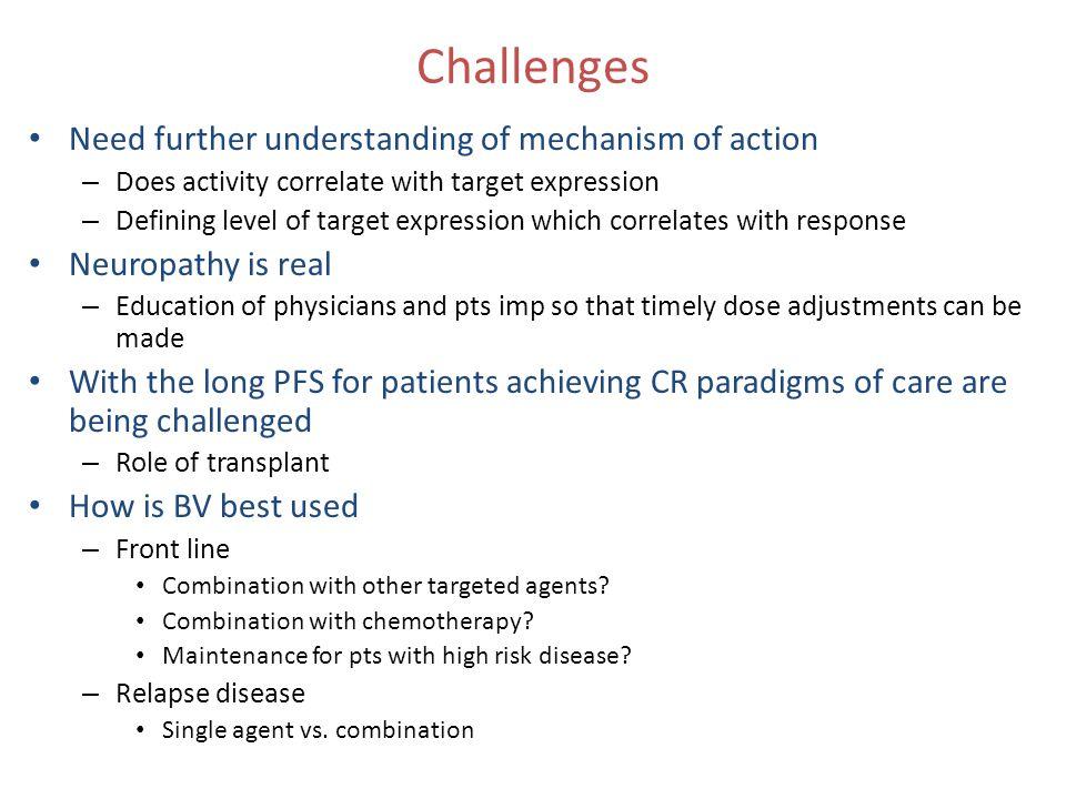 Challenges Need further understanding of mechanism of action
