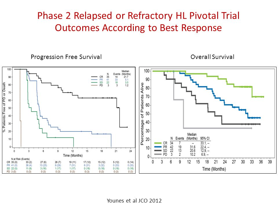 Phase 2 Relapsed or Refractory HL Pivotal Trial Outcomes According to Best Response