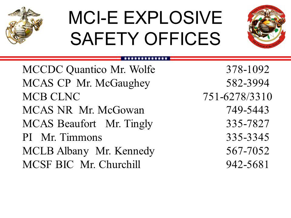 MCI-E EXPLOSIVE SAFETY OFFICES MCCDC Quantico Mr. Wolfe 378-1092