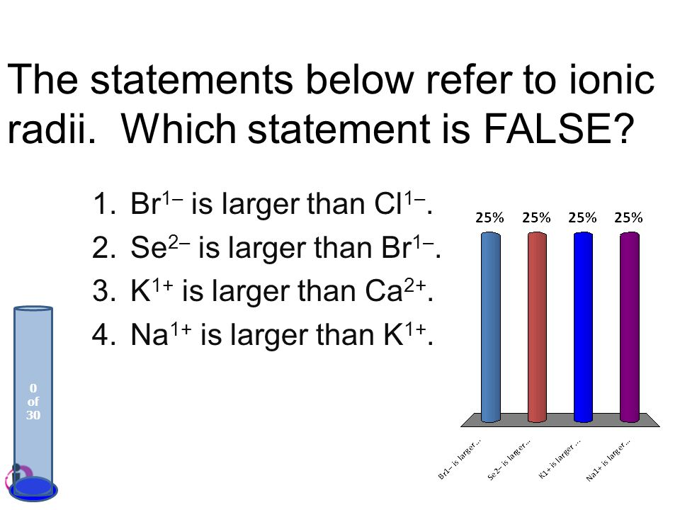 The statements below refer to ionic radii. Which statement is FALSE