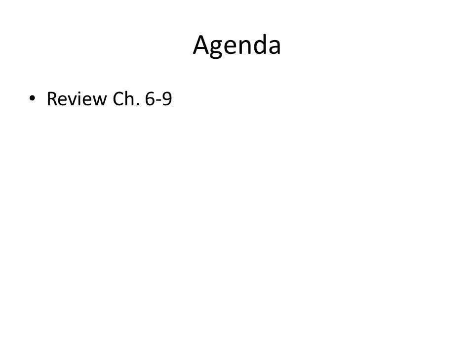 Agenda Review Ch. 6-9