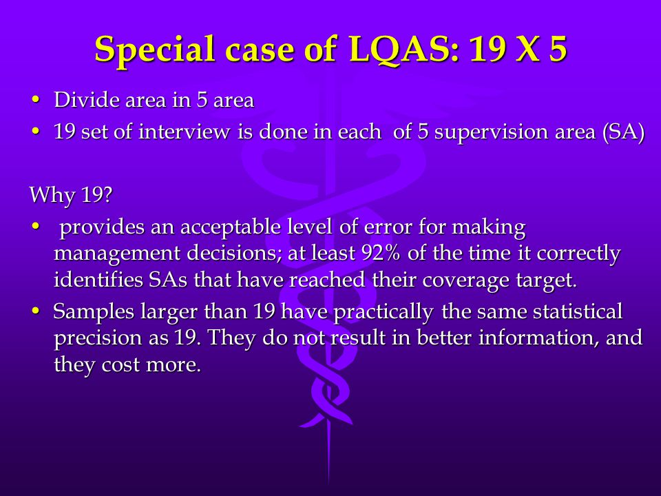 Special case of LQAS: 19 X 5 Divide area in 5 area