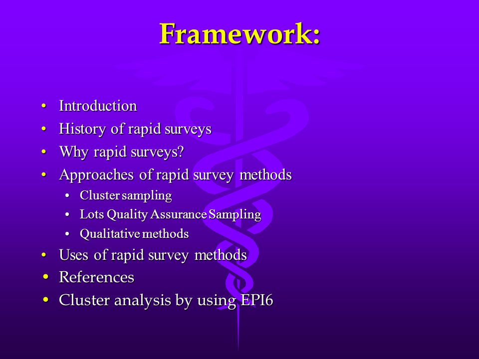 Framework: Introduction History of rapid surveys Why rapid surveys