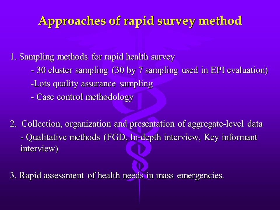 Approaches of rapid survey method