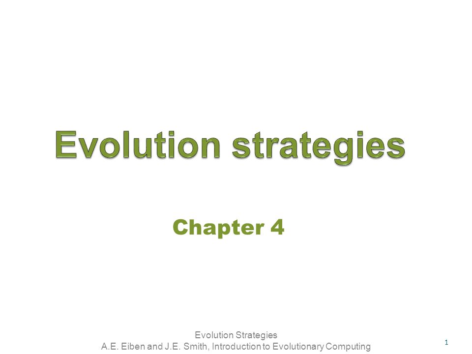 Evolution strategies Chapter 4