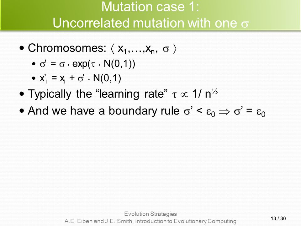 Mutation case 1: Uncorrelated mutation with one 