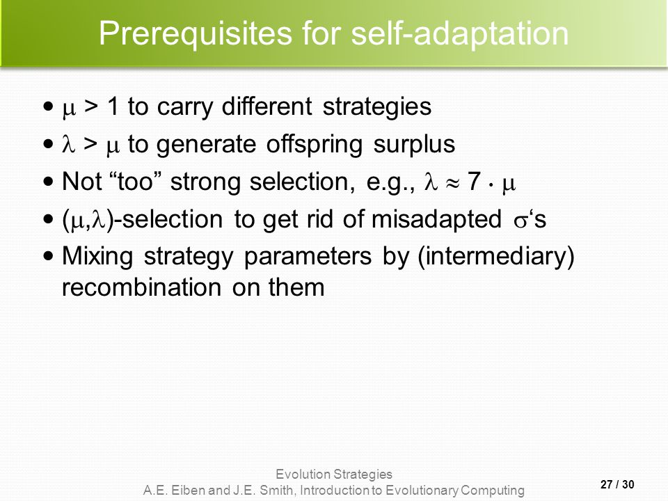 Prerequisites for self-adaptation