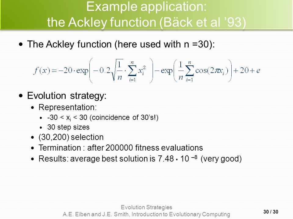 Example application: the Ackley function (Bäck et al '93)