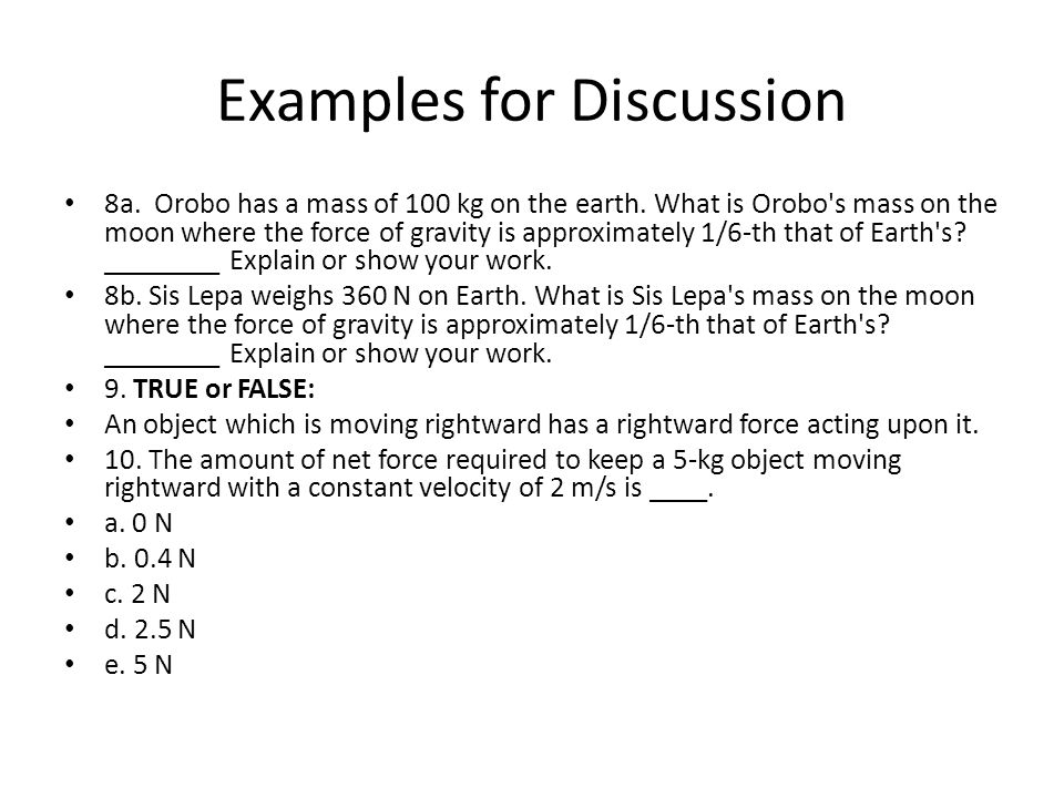Examples for Discussion