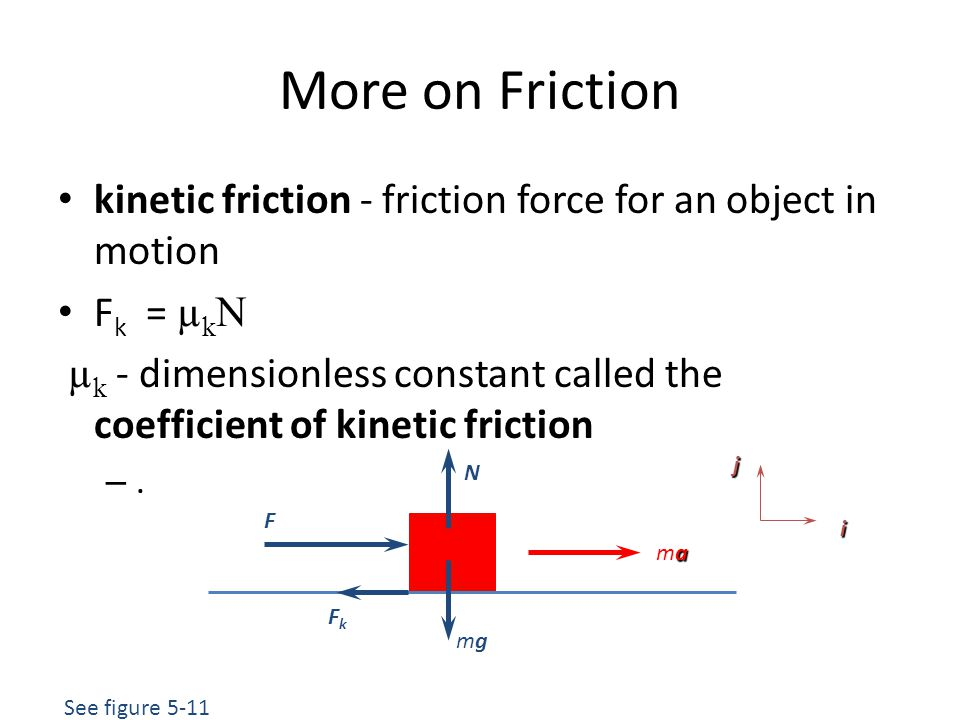 More on Friction kinetic friction - friction force for an object in motion. Fk = µkN.