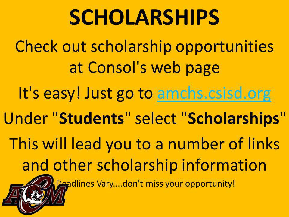 SCHOLARSHIPS Check out scholarship opportunities at Consol s web page