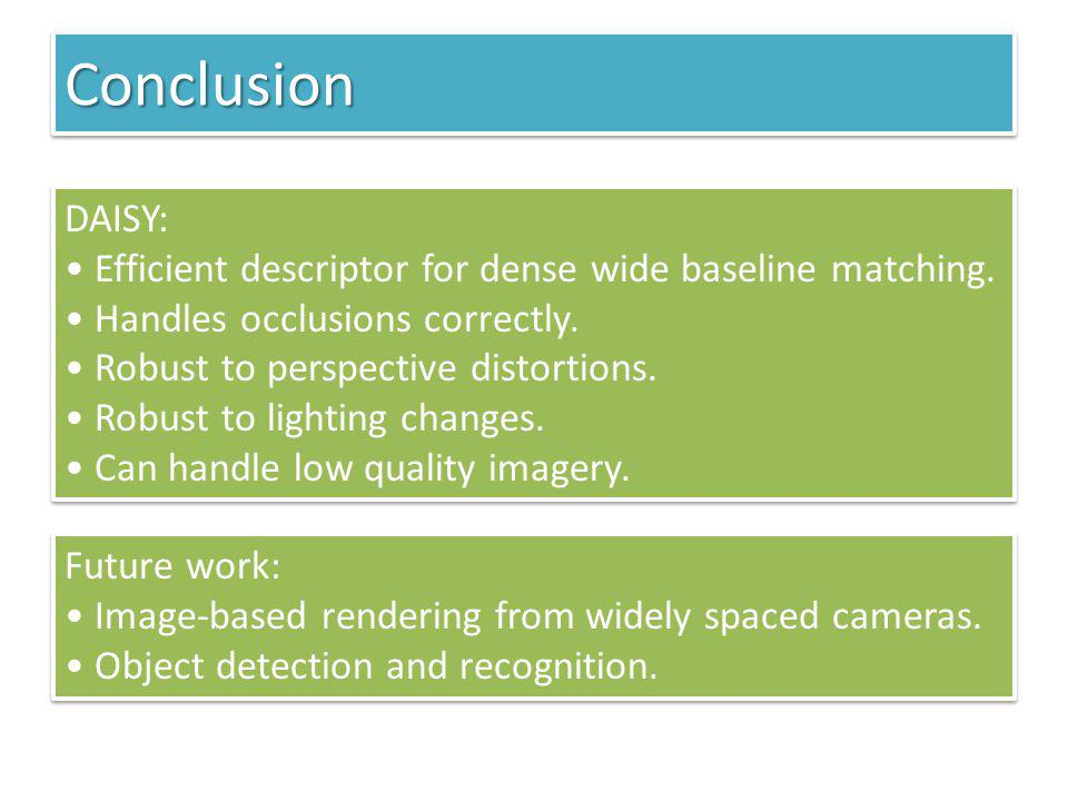 Conclusion DAISY: Efficient descriptor for dense wide baseline matching. Handles occlusions correctly.
