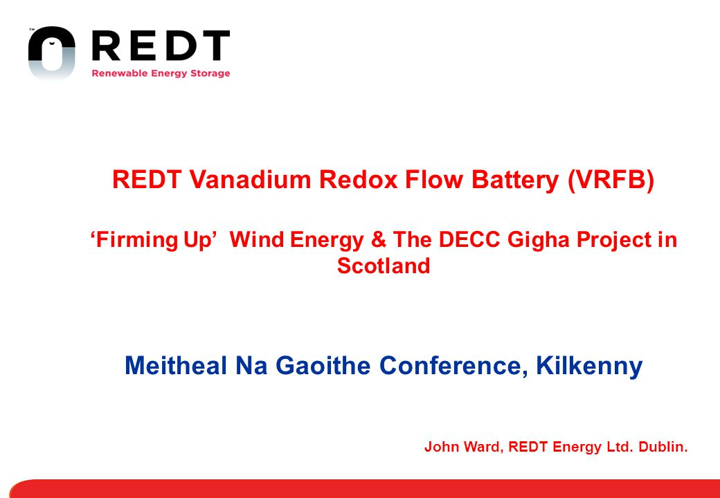 REDT Vanadium Redox Flow Battery (VRFB)