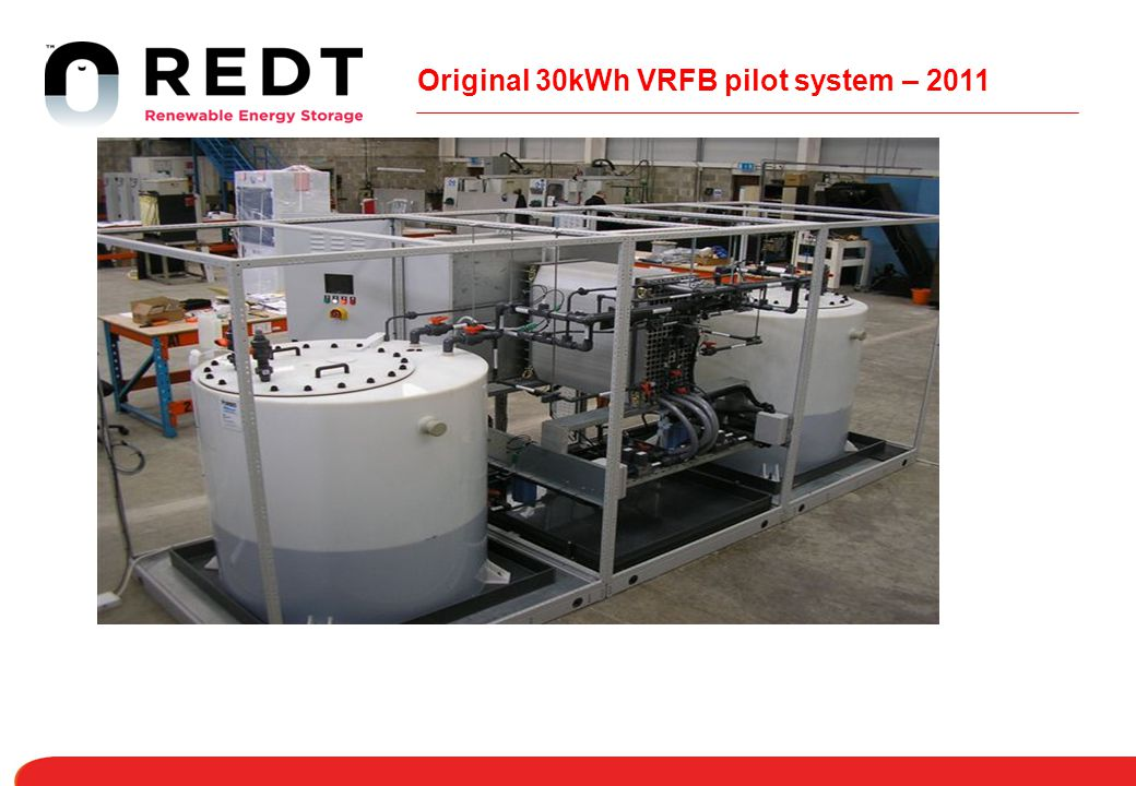 Original 30kWh VRFB pilot system – 2011