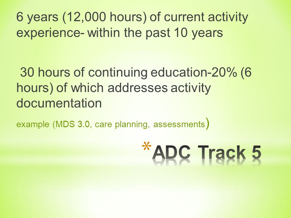 6 years (12,000 hours) of current activity experience- within the past 10 years
