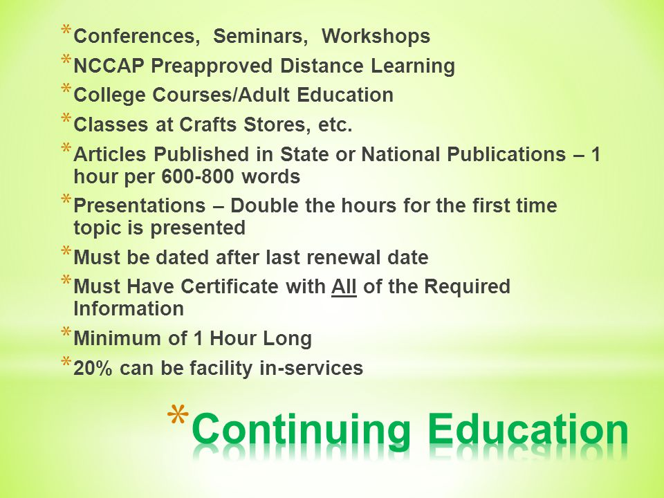 Continuing Education Conferences, Seminars, Workshops
