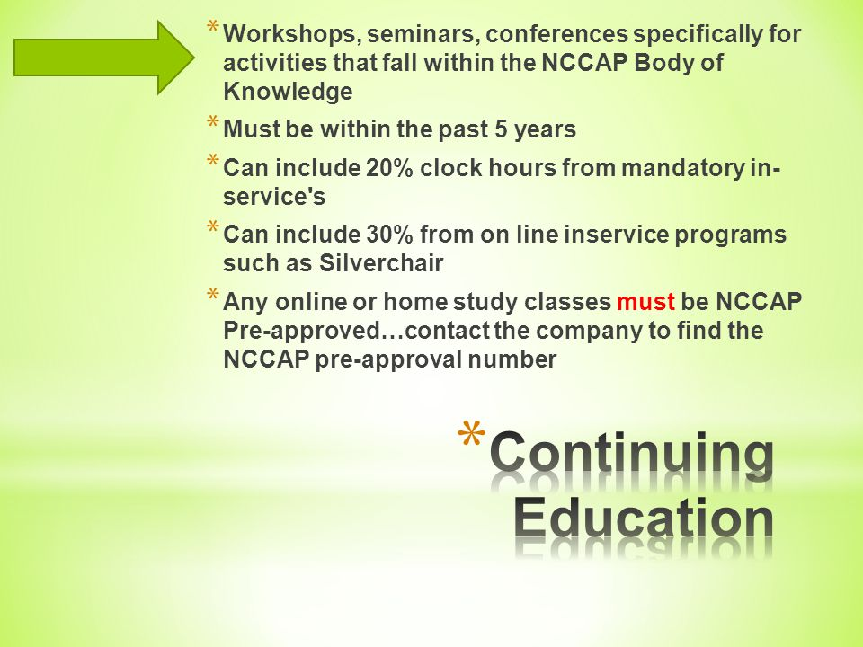 Workshops, seminars, conferences specifically for activities that fall within the NCCAP Body of Knowledge
