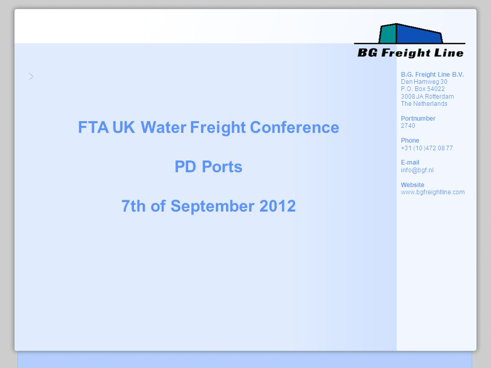 FTA UK Water Freight Conference