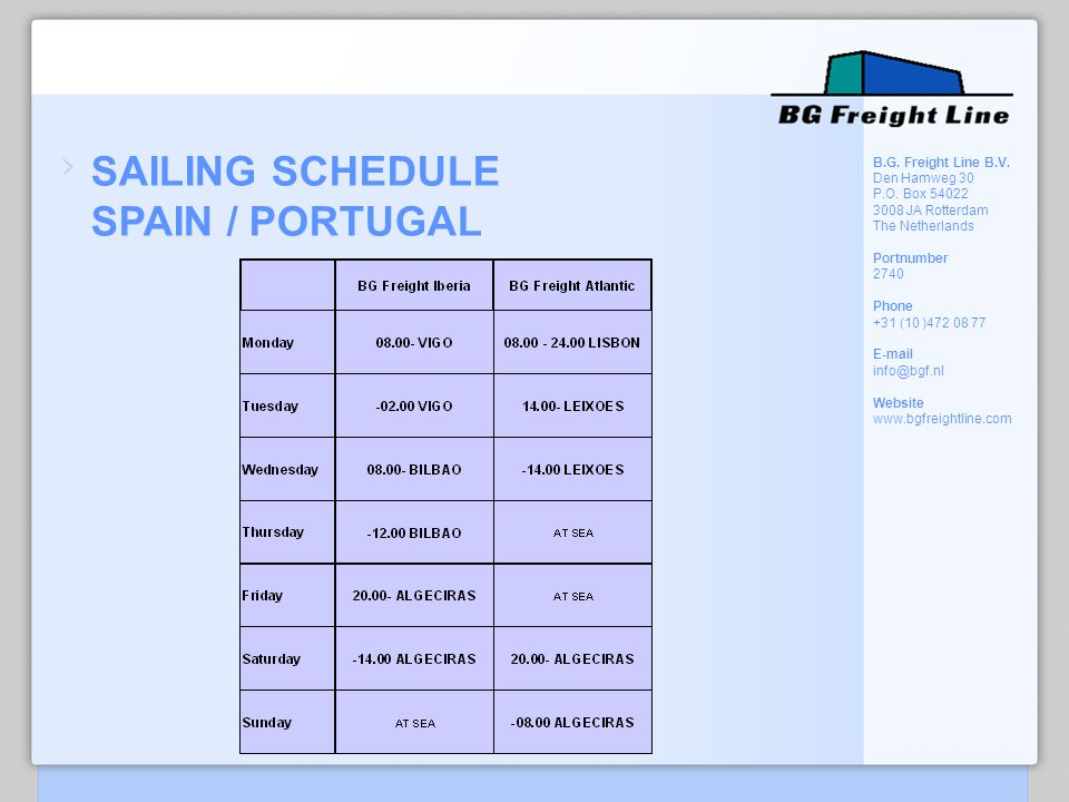 SAILING SCHEDULE SPAIN / PORTUGAL